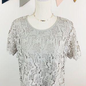 Philosophy Light Grey Crochet Lace Top